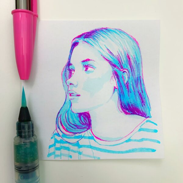 Pink and plue portrait